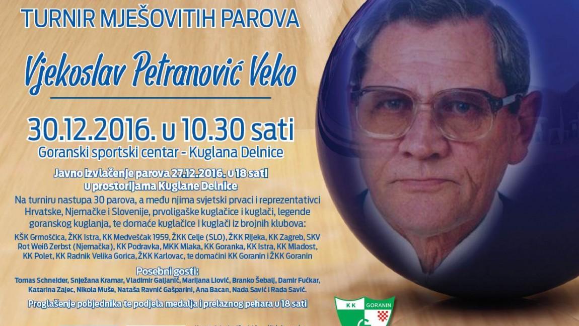 """5. MEMORIJALNI KUGLAČKI TURNIR MJEŠOVITIH PAROVA """"VJEKOSLAV PETRANOVIĆ VEKO"""""""