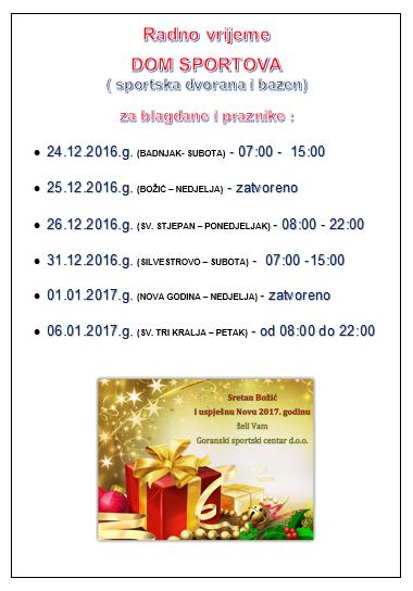 Radno vrijeme DOM SPORTOVA (sportska dvorana i bazen) za blagdane i praznike!