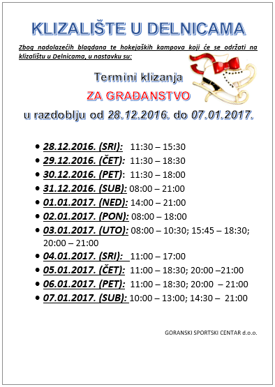 Termini klizanja ZA GRAĐANSTVO u razdoblju od 28.12.2016. do 07.01.2017.