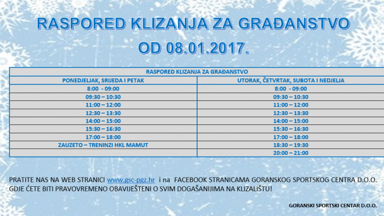 RASPORED KLIZANJA ZA GRAĐANSTVO – od 08.01.2017.
