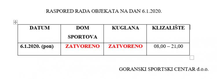 Raspored rada objekata na dan 6.1.2020.